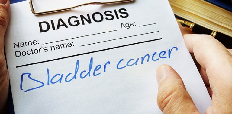 A diagnosis paper has bladder cancer written on it